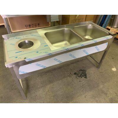 Kétmedencés mosogató, bal oldalon moslékoló nyílás, 1700x600-as külméret
