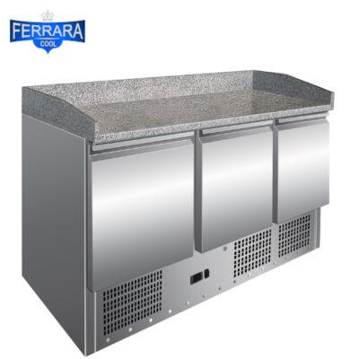 Hűtött pizzapult 3 ajtós gránit fedlappal, 400 literes