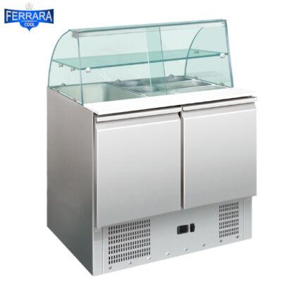 2 ajtós salátahűtő üveg felépítménnyel, 400 literes