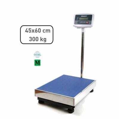 Hitelesített raktári mérleg 300 kg rozsdamentes, 45×60 cm