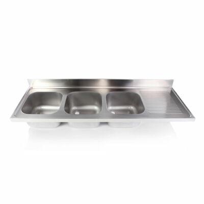 Hárommedencés mosogatófedlap csepegtetővel 400x400x250mm