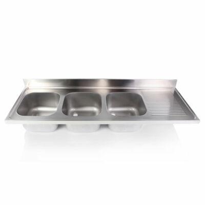 Hárommedencés mosogatófedlap csepegtetővel 500x500x300mm