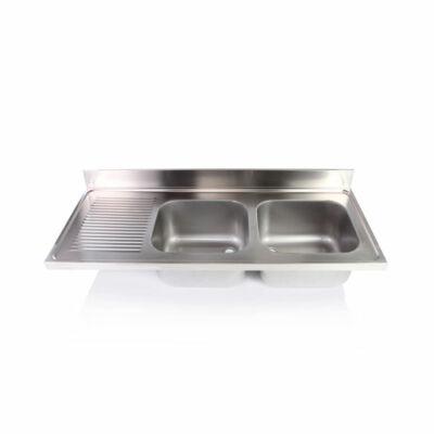 Kétmedencés mosogatófedlap csepegtetővel 400x400x250mm