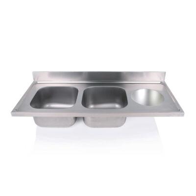 Kétmedencés mosogatófedlap szférikus kézmosóval 400x400x250mm