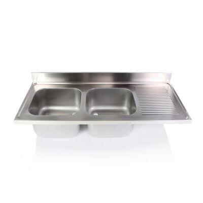 Kétmedencés mosogatófedlap csepegtetővel 500x500x300mm