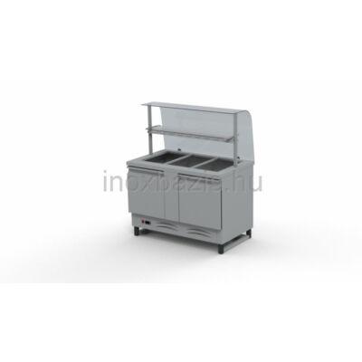 Hűtő pult 3xGN 1/1, alsó hűtött tárolóval, hajlított üveges felépítménnyel, köztes üvegpolcca 1150MM