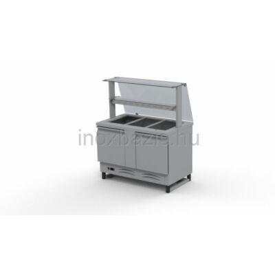 Hűtő pult 3xGN 1/1, alsó hűtött tárolóval, egyenes üveges felépítménnyel, köztes üvegpolccal 1150MM