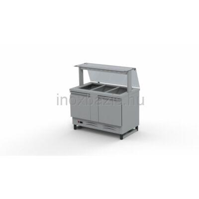 Hűtő pult 3xGN 1/1, alsó hűtött tárolóval, egyenes üveges felépítménnyel 1150MM