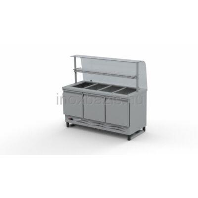 Hűtő pult 4xGN 1/1 alsó hűtött tárolóval,hajlított üveges felépítménnyel, köztes üvegpolccal 1500MM