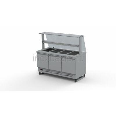 Hűtő pult 4xGN 1/1 alsó hűtött tárolóval,hajlított üveges felépítménnyel 1500MM
