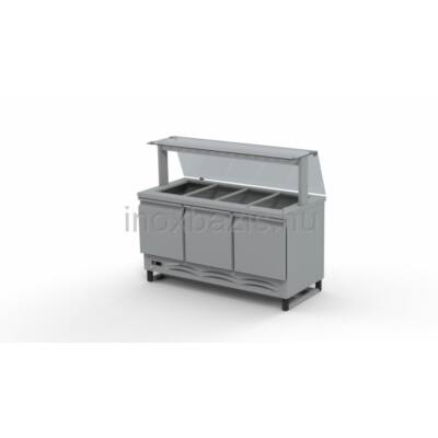 Hűtő pult 4xGN 1/1 alsó hűtött tárolóval,egyenes üveges felépítmény 1500MM