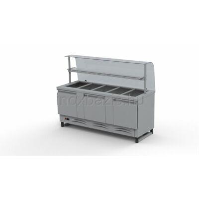 Hűtő pult 5xGN 1/1 alsó hűtött tárolóval, hajlított üveges felépítménnyel, köztes üvegpolccal 1800MM