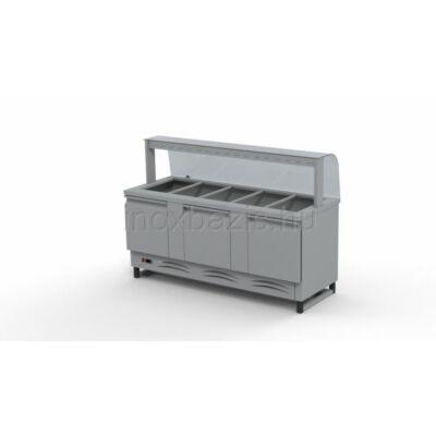 Hűtő pult 5xGN 1/1 alsó hűtött tárolóval, hajlított üveges felépítménnyel 1800MM