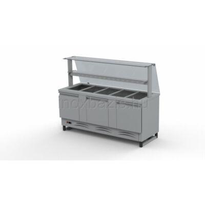 Hűtő pult 5xGN 1/1 alsó hűtött tárolóval, egyenes üveges felépítménnyel, köztes üvegpolccal 1800MM