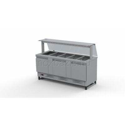 Hűtő pult 5xGN 1/1 alsó hűtött tárolóval, egyenes üveges felépítménnyel 1800MM