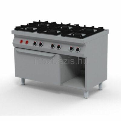 6 lángos gáztűzhely, elektromos sütővel, őrláng nélkül