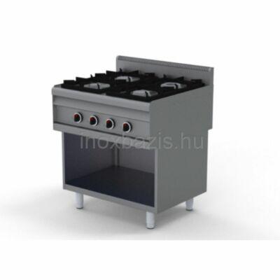 4 lángos gáztűzhely, alul nyitott, főzősorba illeszthető