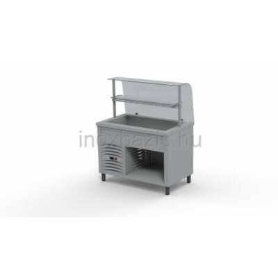 Hűtő pult 3xGN 1/1, hajlított üveges felépítménnyel, köztes üvegpolccal 1150 MM