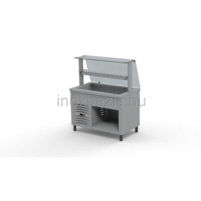 Hűtő pult 3xGN 1/1, egyenes üveges felépítménnyel köztes üvegpolccal 1150 MM