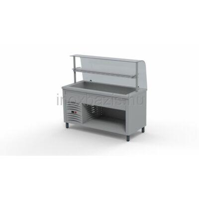 Hűtő pult 4xGN 1/1, hajlított üveges felépítménnyel, köztes üvegpolccal 1500MM