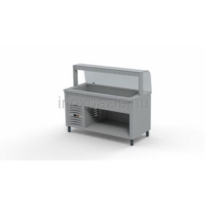 Hűtő pult 4xGN 1/1, hajlított üveges felépítménnyel 1500MM