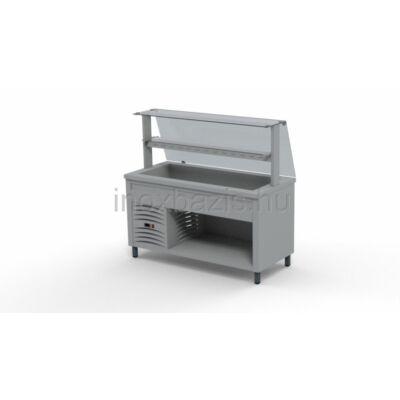 Hűtő pult 4xGN 1/1, egyenes üveges felépítmény, köztes üvegpolccal 1500MM