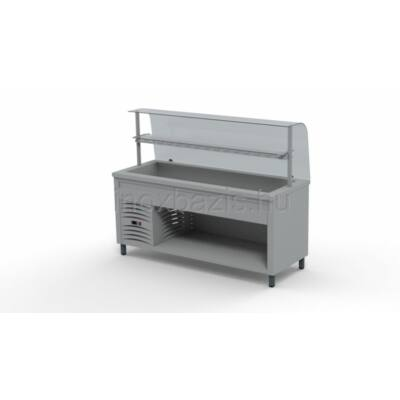 Hűtő pult 5xGN 1/1, hajlított üveges felépítménnyel, köztes üvegpolccal 1800MM