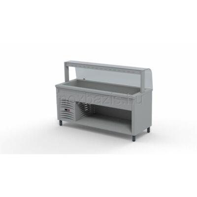 Hűtő pult 5xGN 1/1, hajlított üveges felépítménnyel 1800MM