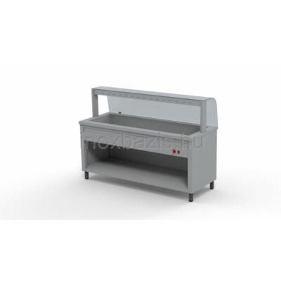 Melegentartó pult 5xGN 1/1, hajlított üveges felépítménnyel 1800 MM, Alsó fűtött tárolóval