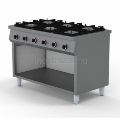 6 lángos gáztűzhely, főzősorba illeszthető, őrláng nélkül, 900-as
