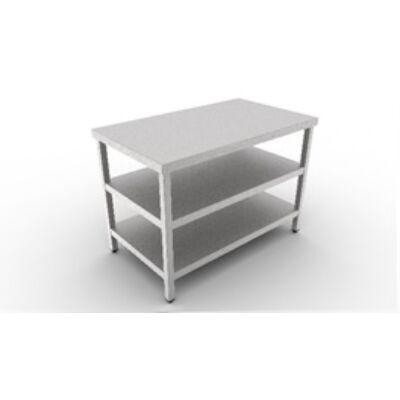Rozsdamentes Munkaasztal, dupla polccal 600 széria, 2400 mm hosszú
