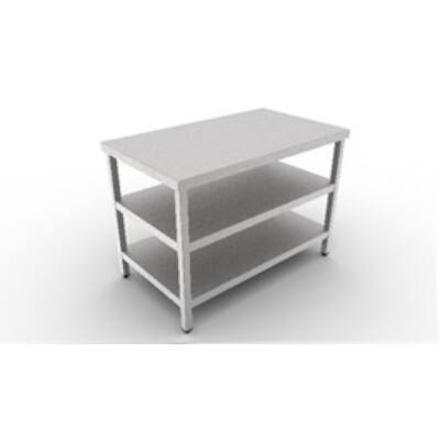 Rozsdamentes Munkaasztal, dupla polccal 600 széria, 2200 mm hosszú